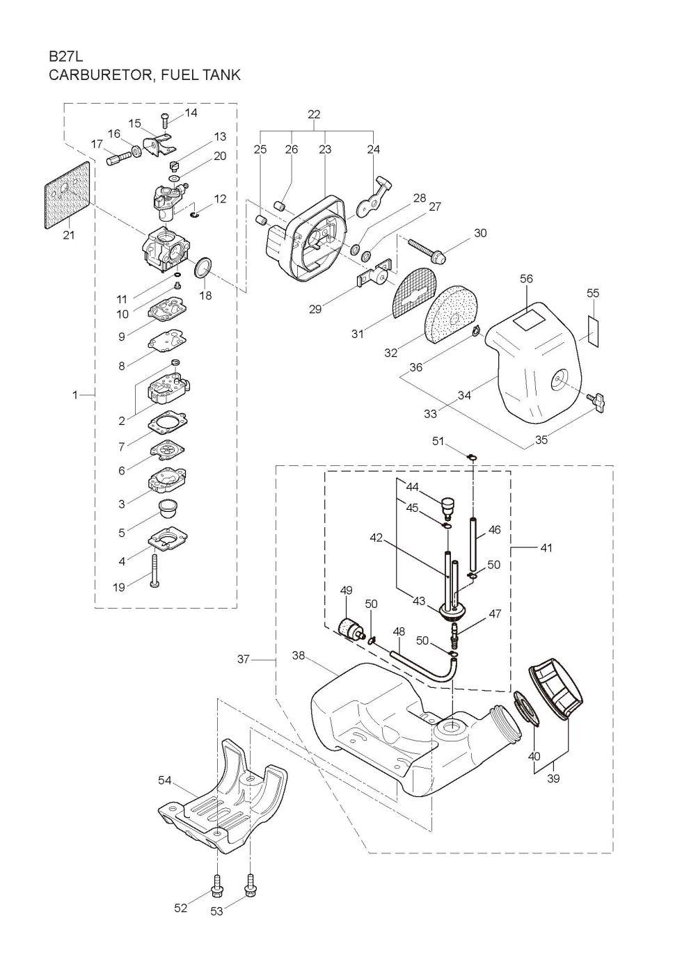 Maruyama Parts Lookup - B27L Parts Diagrams B27L Carburetor