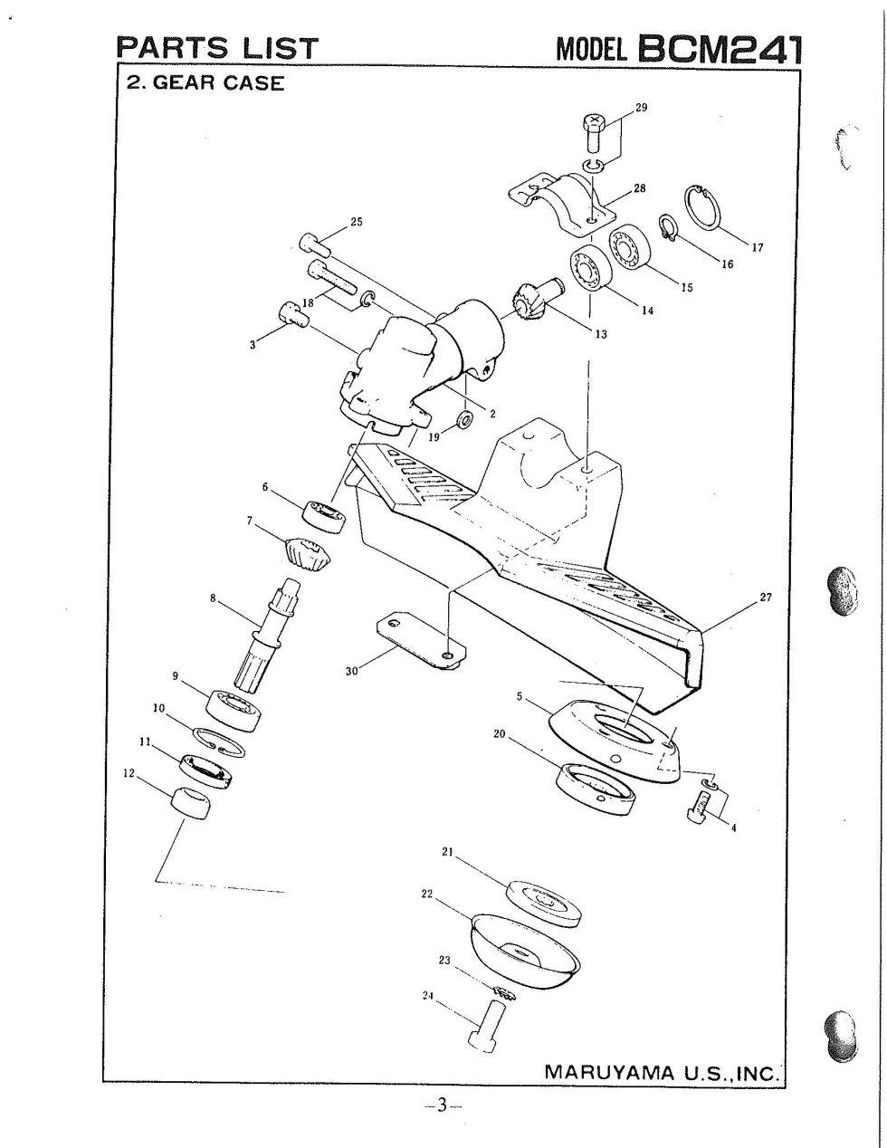 Maruyama Parts Lookup - BCM241 Parts Diagrams BCM241 Gearcase