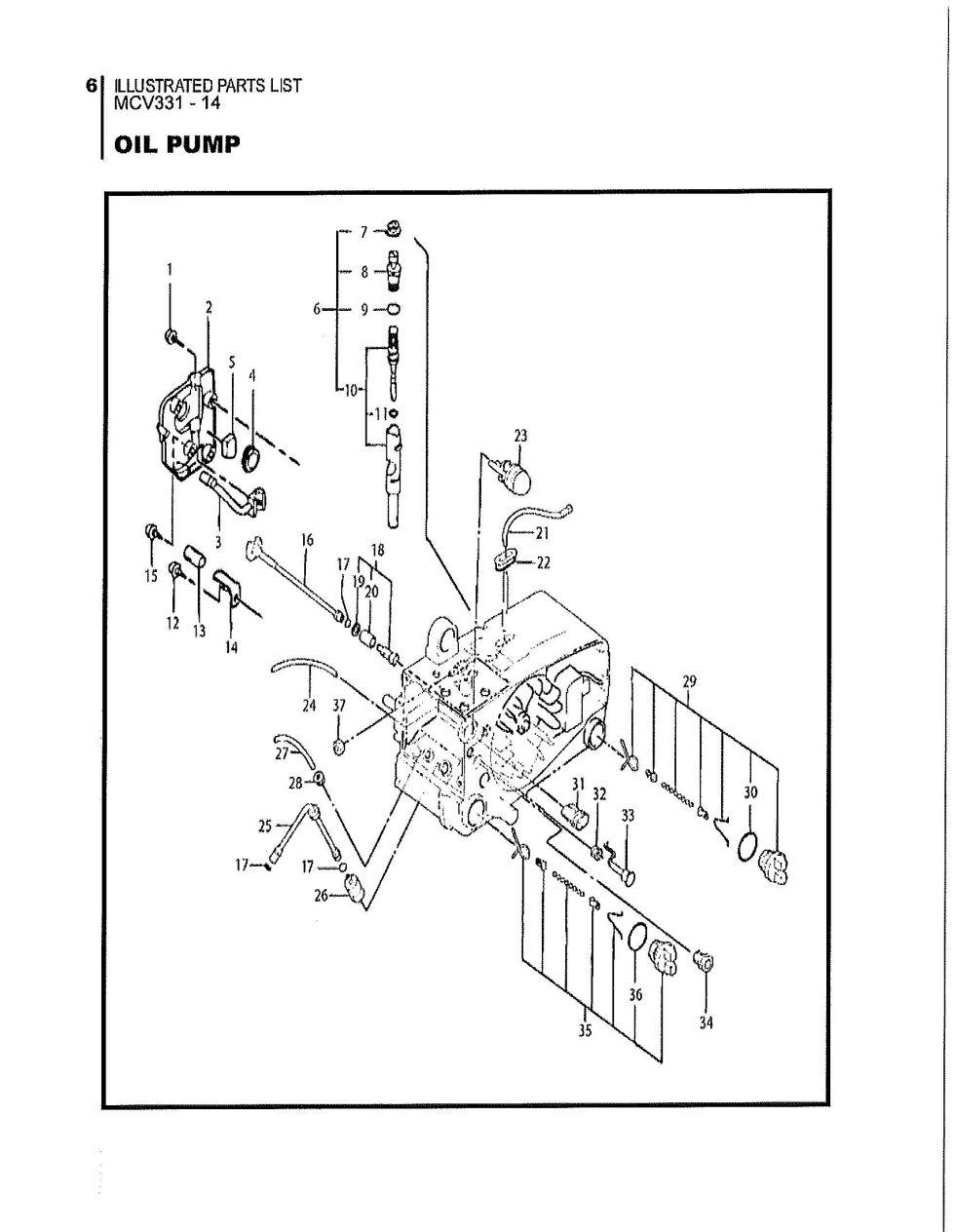 Maruyama Parts - MCV331-14 Oil Pump Diagrams. on